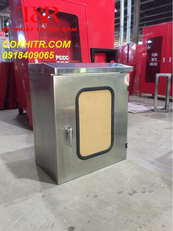 Tủ điện inox 304 ngoài trời 2 lớp cánh kT 600x500x300